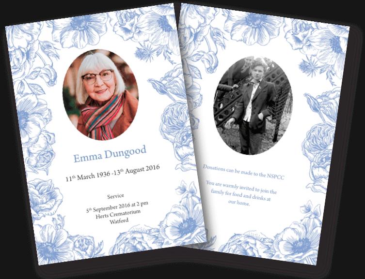 floral funeral order of service design