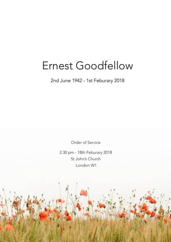 modern funeral order of service design front cover