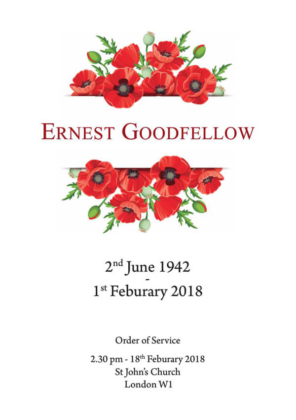 floral funeral order of service design front cover