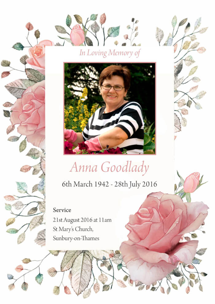floral funeral order of service example