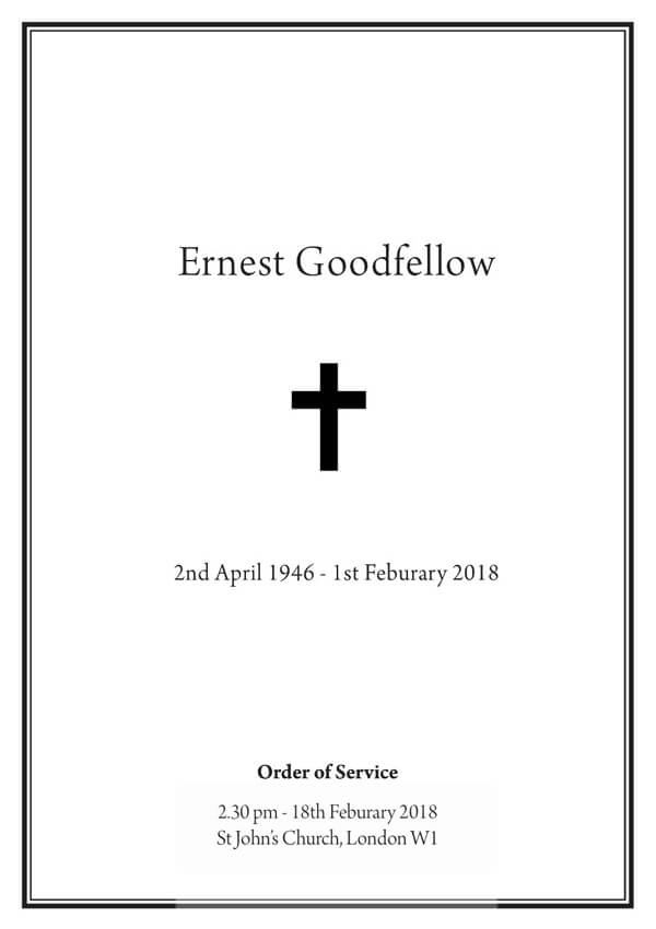 Traditional funeral order of service design front cover