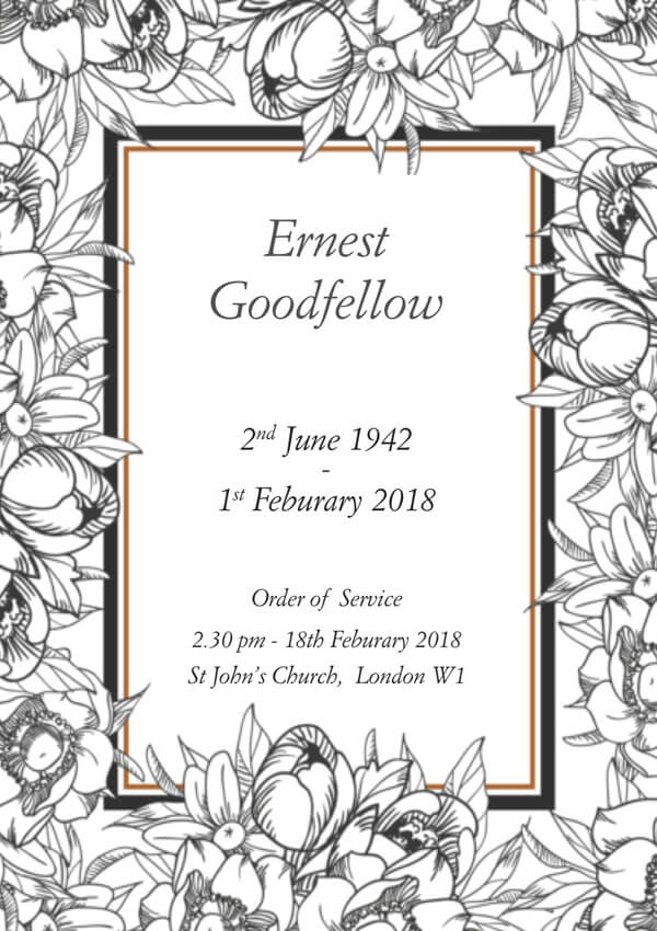 Victoriana funeral order of service design front cover