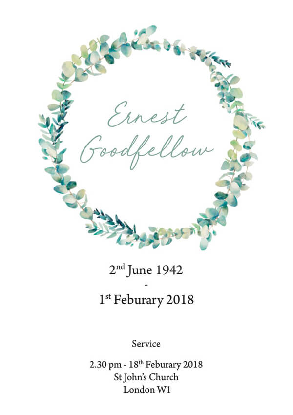 floral funeral order of service design front cover