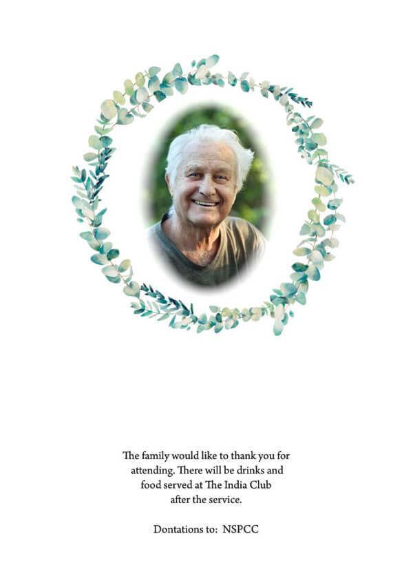 floral funeral order of service design back cover