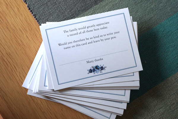 Pew cards for funeral